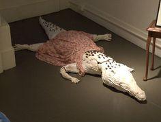 Reggie the Albino Alligator, Ceramic Sculpture, 6 foot Sculpture. By Michaela Whitney