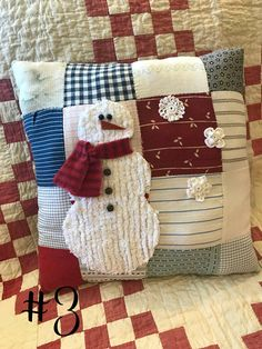 Vintage Quilt Snowman Decorative Pillow with Chenille Snowman : Vintage Quilt Snowman Decorative Pillow with Chenille Snowman