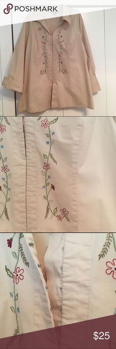 Embroidered Tunic length Blouse Hook and eye closures with beautiful embroidered flower and vine design down front. Button closure at cuffs. Khaki/ light tan color. Size 22/24 EUC Venezia Tops Blouses