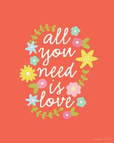 all you need is love by kensiekate on Etsy Sweet Quotes, Cute Quotes, Words Quotes, Qoutes, Sayings, Simple Words, Love Words, Beautiful Words, Letras Cool