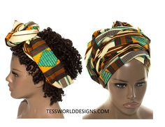 Kente Fabric Scarves/ head wraps/ African Head wraps/ African Fabric/ African…