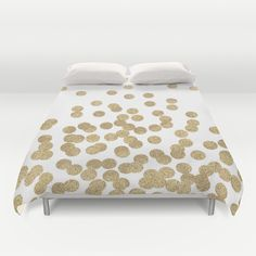 Gold+Glitter+Dots+in+scattered+pattern+Duvet+Cover+by+CharlotteWinter+-+$99.00