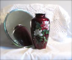 Cloisonné Vase Japanese Pigeon Blood Silver Wire by LasLovelies