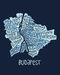 Budapest typo map Art Print