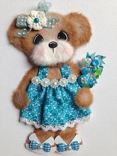 Spring Summer Boutique Girl Tear Bear Scrapbook Paper Pcing ELITE4U 3PAPERWISHES   eBay