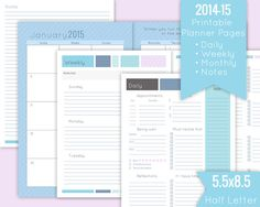Printable Planner Pages 20142015  Daily Weekly von AnimaVivo