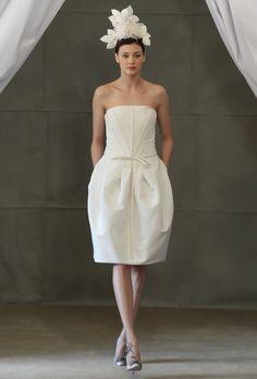 32c9773424 Brides: Carolina Herrera - Spring 2013. Strapless knee-length silk A-line