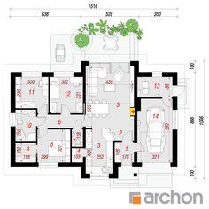 projekt Dom w nerinach rzut parteru House Plans One Story, One Story Homes, Dream House Plans, Story House, House Floor Plans, Brick Siding, Bungalow House Design, Cottage Plan, Villa Design