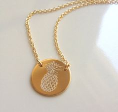 Gold Pineapple Necklace  Pineapple Pendant  by GoldCrushJewelry