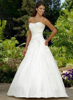 Brautkleider - $189.84 - Duchesse-Linie Trägerlos Herzausschnitt Hof-schleppe Taft Brautkleid mit Rüschen Perlenstickerei (00205000843)