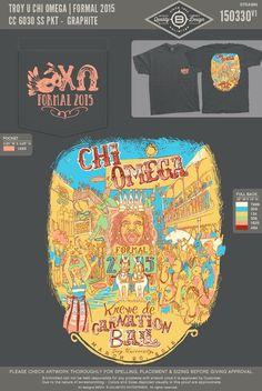Chi Omega at Troy Mardi Gras formal Rush Shirts, Fraternity Shirts, Greek Apparel, Greek Clothing, Chi Omega, Troy, Mardi Gras, Uni, Formal