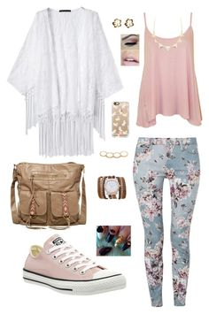 White Kimono & floral jeans by mels95 on Polyvore featuring WearAll, 7 For All Mankind, Converse, T-shirt & Jeans, Sara Designs, Charlotte Russe, Jessica Robinson and Casetify