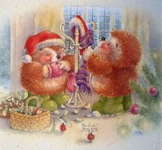 Art Country Companions Christmas Scenes, Christmas Images, Christmas Time, Xmas, Hedgehog Art, Cute Hedgehog, Christmas Clipart, Vintage Christmas Cards, Vintage Pictures