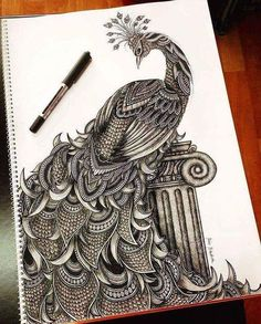Intricate Doodles and Zentangle Drawings Mandala Art Lesson, Mandala Artwork, Mandala Drawing, Dark Art Drawings, Pencil Art Drawings, Art Drawings Sketches, Doodle Art Designs, Peacock Art, Indian Art Paintings