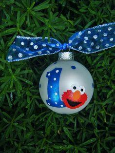 Sesame Street Elmo & Cookie Monster Theme Hand Painted Christmas ...