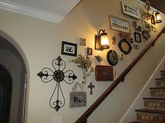 wall display up a stair way