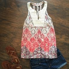 LUCKY Brand Printed Tank NWT Lucky Brand Printed Tank with lace detail on front and braided detail on back. Lucky Brand Tops Tank Tops