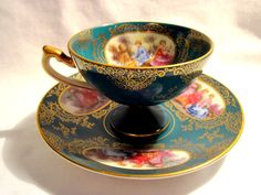 RARE LEFTON CHINA WK913AD FOOTED CUP & SAUCER COURTING COUPLE GOLD EDGE EUC #Baroque #LeftonChinaJapan