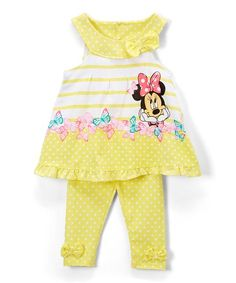 Childrens Apparel Network Minnie Mouse Yellow Tank & Dot Leggings - Infant, Toddler & Girls | zulily