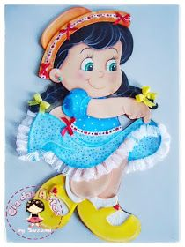 cia da arte: Festa Junina Foam Crafts, Diy And Crafts, Crafts For Kids, Creative Class, Monster High Dolls, Cute Faces, Kids Cards, Box Design, Fabric Painting