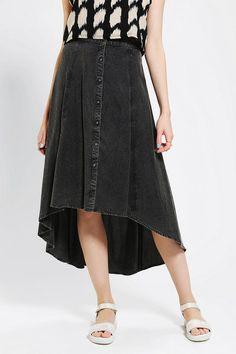 Ecote Button-Front Acid-Wash Maxi Skirt