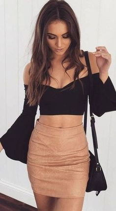amazing outfit idea: black off shoulder top + skirt + bag. For Everyone. Blog @ #DapperNDame Pinterest. dapperanddame.com
