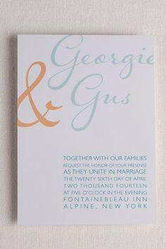 Modern Script Wedding invitations, 5x7, turquoise and tangerine, digital or custom printed