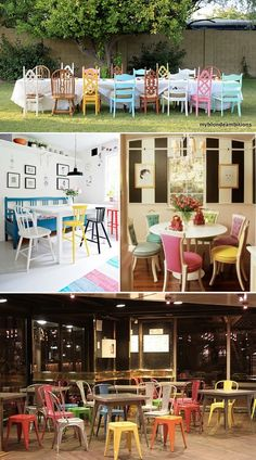 mix and match Colourful seating Old Chairs, Dining Chairs, Mismatched Chairs, Kitchen Chairs, Chalk Paint Brands, Colorful Chairs, Eclectic Chairs, Miss Match, Summer Parties
