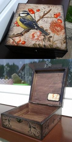 hand made, decoupage, pudełko, bird