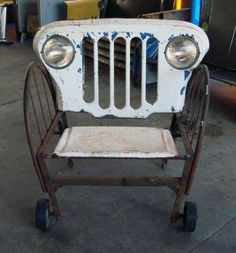 Clever repurposing of old car grill etc.!