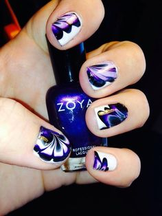 Purple, black and white water marble