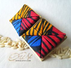 Asa Squearrings  Ankara African Fabric Earrings by Orese on Etsy, $20.00
