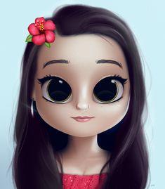 Cartoon, Portrait, Digital Art, Digital Drawing, Digital Painting, Character Design, Drawing, Big Eyes, Cute, Illustration, Art, Girl, Doll, Hair, Black Hair, Green Eyes, Flower Emoji