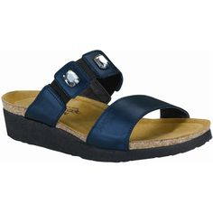 Naot Women's Michele, Style #: 4415-D11 in Polar Sea | Add an extra bling to your wardrobe with the very chic and trendy Naot Michele sandal. These women's slide sandals exhibit refined leather or metallic leather upper embellished with rhinestones and inset elastic adding rich details and comfort to it. Enjoy great comfort and snug fit with these sandals featuring an anatomical Suede covered cork along with a natural latex footbed. | Naot shoes available at www.TheShoeMart.com #TheShoeMart