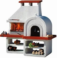 """Sunday Grill """"Ranch"""" Wood Pizza Oven and Charcoal BBQ Combo : grillsnovens Barbecue Four A Pizza, Barbecue Grill, Backyard Barbeque, Wood Pizza, Wood Fired Pizza, Outdoor Gas Pizza Oven, Masonry Bbq, Barbacoa Jardin, Parrilla Exterior"""
