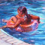Float rose par Karen Bruson huile ~ 6 x 6