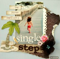 cutest little girl scrapbooking page. single step. swimming and beach.