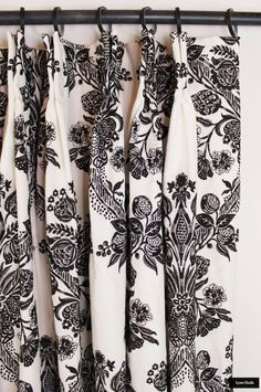 Custom Drapes by Lynn Chalk in Schumacher Carolina (shown in Ebony-also comes in Ultramarine and Grisaille) Cotton Curtains, Floral Curtains, Velvet Curtains, Sheer Curtains, Panel Curtains, Relaxed Roman Shade, Samuel And Sons, Drapes And Blinds, Grisaille