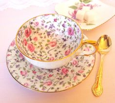 Antique Teacup and Saucer Set Pink Roses and Purple Floral Chintz Bartley China England Bone China Tea Cup | Tea Party Bridal Favor Gift by HouseofLucien on Etsy https://www.etsy.com/listing/245589336/antique-teacup-and-saucer-set-pink-roses