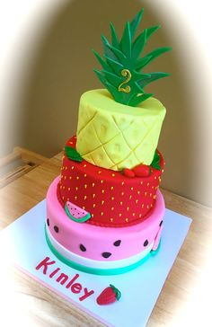 Two Tti Fruity Second Birthday Party Adorable Pizzazzerie Com Fruit Birthday Cake, 2nd Birthday Party Themes, Second Birthday Ideas, Watermelon Birthday, 1st Birthday Girls, Birthday Fun, Tutti Fruity Party, Bolo Cake, Rosalie