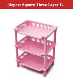 Aisport Square Three Layer Floor Stand Rack(Pink). Square Three Layer Rack Ventilated shelves helps keep things dry, reduces odor and prevents mold and mildew formation. Product name: Square Bathroom Shelves Product Size: 34 * 26.5 * 18.5cm, 13.39*10.43*7.28 inch Weight: 315 g, 11.11 OZ Product Packing: OPP bag Color: green, pink, blue,white Note: The price is the price of a three-layer, carefully look at the size, we use pure new material, no recycled materials added, quality assurance!.