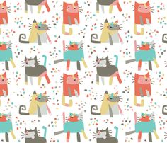 Cubist confetti cats fabric by petite_circus on Spoonflower - custom fabric