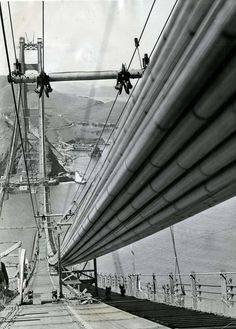 This photo shows one of the nearly completed cables that hold up $32 million span. Photo courtesy of the Associated Press, May 4, 1936.