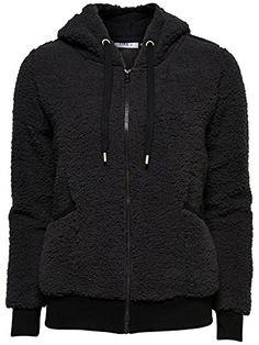 ONLY Damen Jacke TEDDY FLEECE L/S HOOD SWEAT Pullover Fell Kapuze Black schwarz (M) ONLY