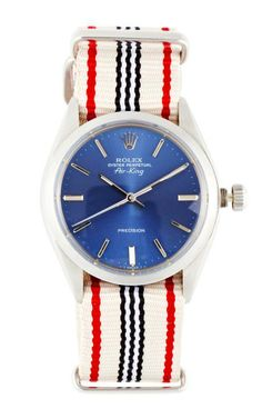 Vintage Rolex Stainless Steel Air-King With Blue Dial by CMT Fine Watch and Jewelry Advisors for Preorder on Moda Operandi