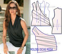 BLUSA COM TRESPASSE DRAPEADA -92 - Moldes Moda por Medida
