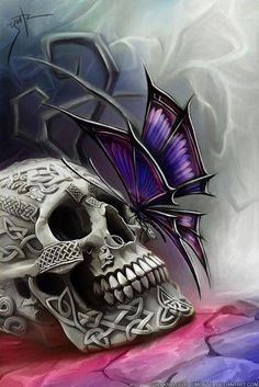 ditch the butterfly, add a spider and a little bit of tribal looking background? Different perspective for the skull, too... more front facing and downwards.