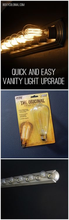 Upgrade your builder grade vanity light with spray paint and fancy light bulbs