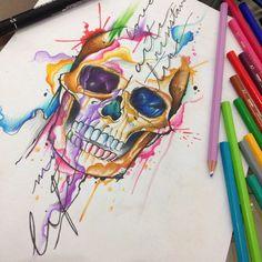 Skull Watercolor by Felipe Bernardes