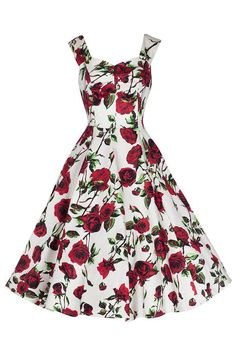 Ivory White and Red Rose Vintage Rockabilly Swing Dress